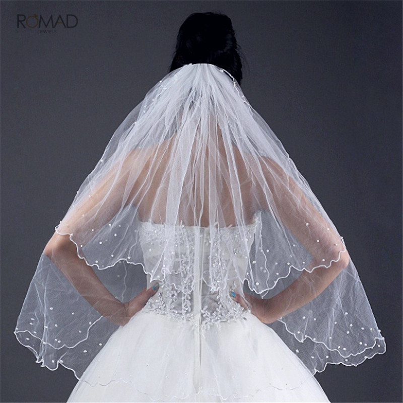 Two Layers White Ivory Cathedral Wedding Veil Beaded Short Bridal Veil Wedding Accessories Gifts