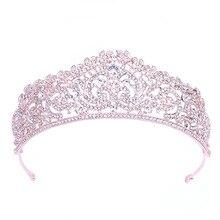Wedding Tiara Crown Pink Queen Bridal hair accessories Headpiece Hair Jewelry Bride Accessories women headband