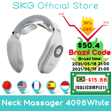 SKG Massager Für neck Fernbedienung Heiße Kompresse ZEHN Elektrische Pulse Smart Neck Massager Zervikale Schmerzen Relief Lange Batterie Lebensdauer