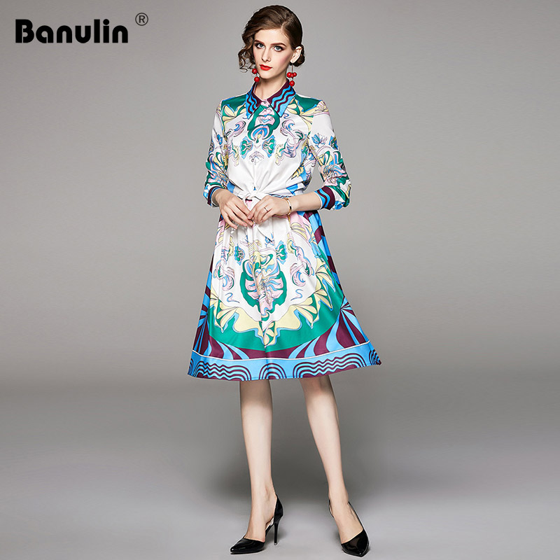 Banulin 2019 New Fashion Designer Runway Style Dress Women Floral Print Shirt Blouse+Pleated Skirt Two Pieces Sets