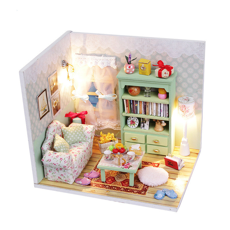 Creative Dollhouse Miniatures Mini House DIY Accessory Gift for Children Back to School Assembled Material Kits M010 M012