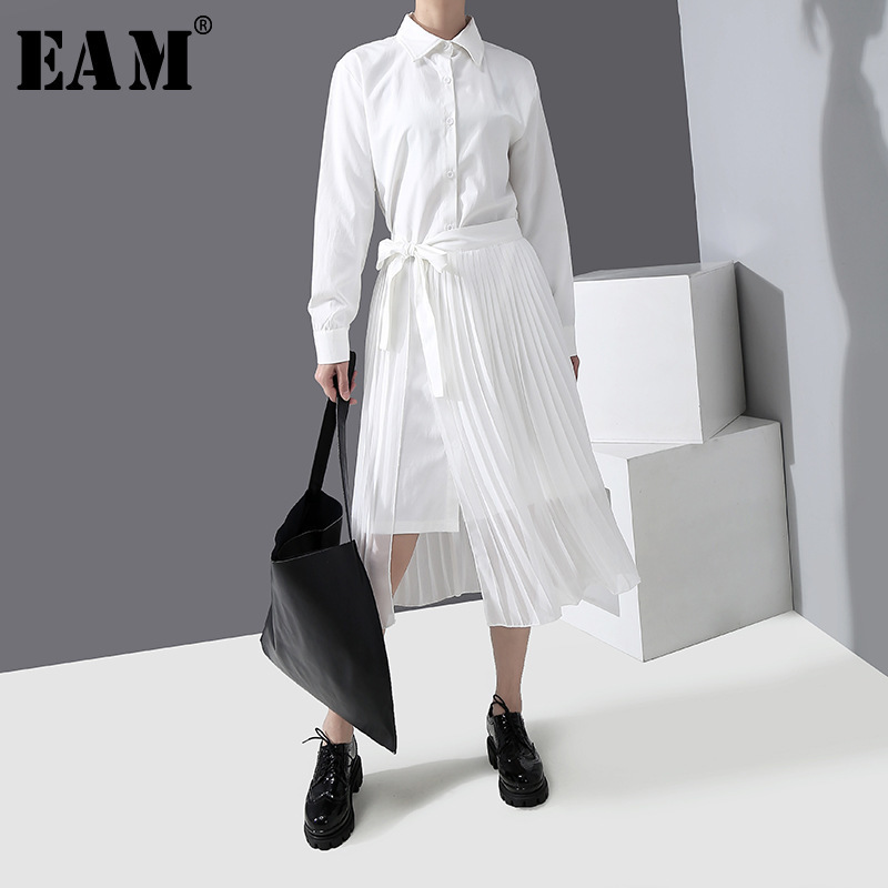 [EAM] Women White Pleated Split Two Piece Shirt Dress New Lapel Long Sleeve Loose Fit Fashion Tide Spring Autumn 2020 1R307