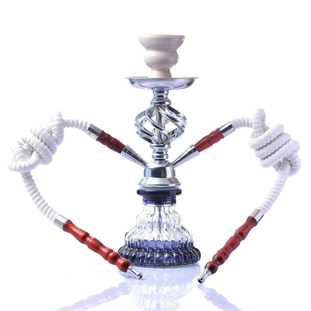 Modern Travel Cloud Hookah Double Hose Glass Shisha Pipe Nargile Chichas with Narguile Hose Bowl Charcoal Tongs Gift Wedding-4