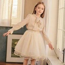 2 Piece Girls Skirt Shirt Set Long Sleeve Candy Color Blouse Loose Mesh Hem Skirts 2 Pcs Clothing Suit For Kids Children Clothes