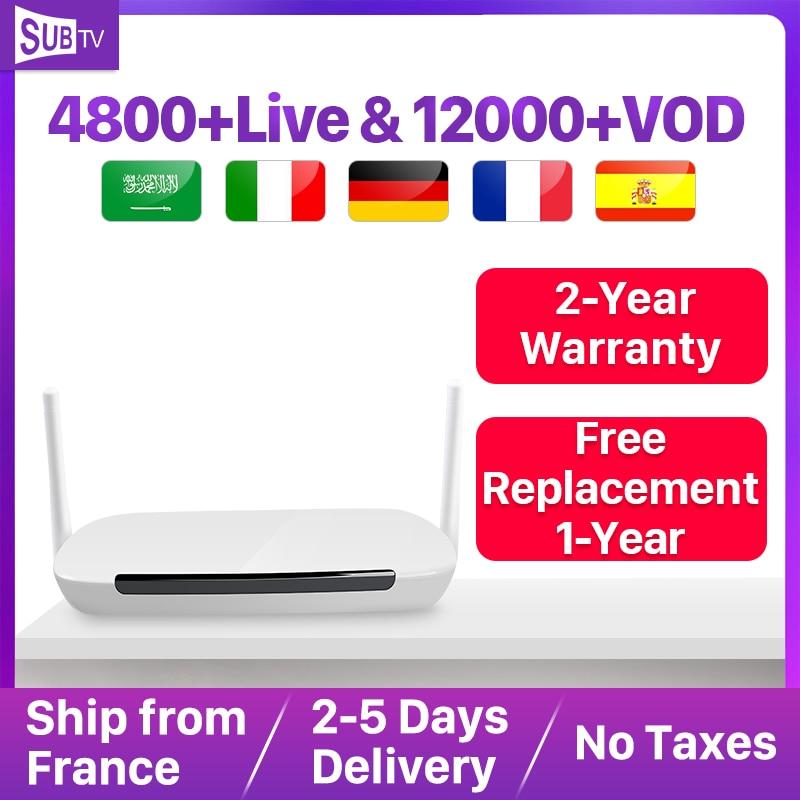 Subtv 4 k iptv árabe frança itália android 8.1 leadcool q9 1 + 8g rk3229 h.265 decodificador ip tv assinatura francês portugal turquia