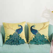 45x45cm New Chinese Handmade Sequin Applique 3D Embroidered Blue Peacock Pillowcase Sofa Decor Cushion Cover цена 2017