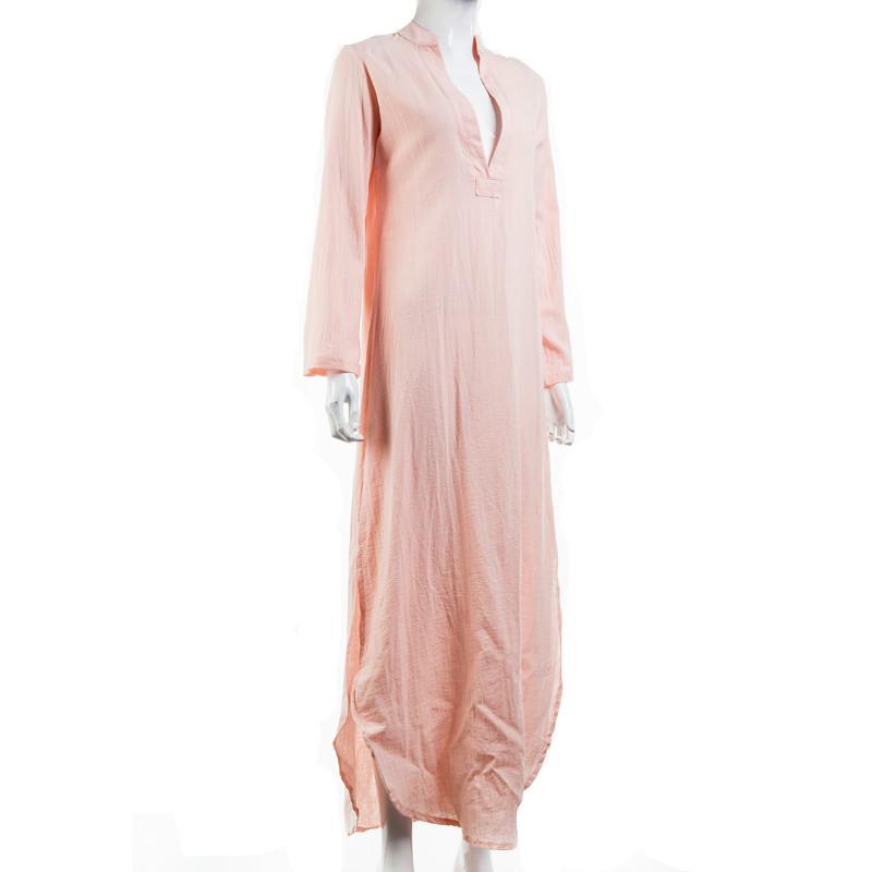 Women Gypsy Dresses Robe Long Sleeve V-neck Ethnic Boho Cotton Linen Summer Beach Maxi Dress 6