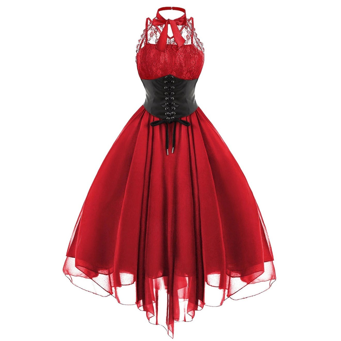 Plus Size Sexy Sleeveless Chiffon Irregular Dress Women Gothic Lace Up Empire Party Dress Summer Solid A-Line Midi Dress