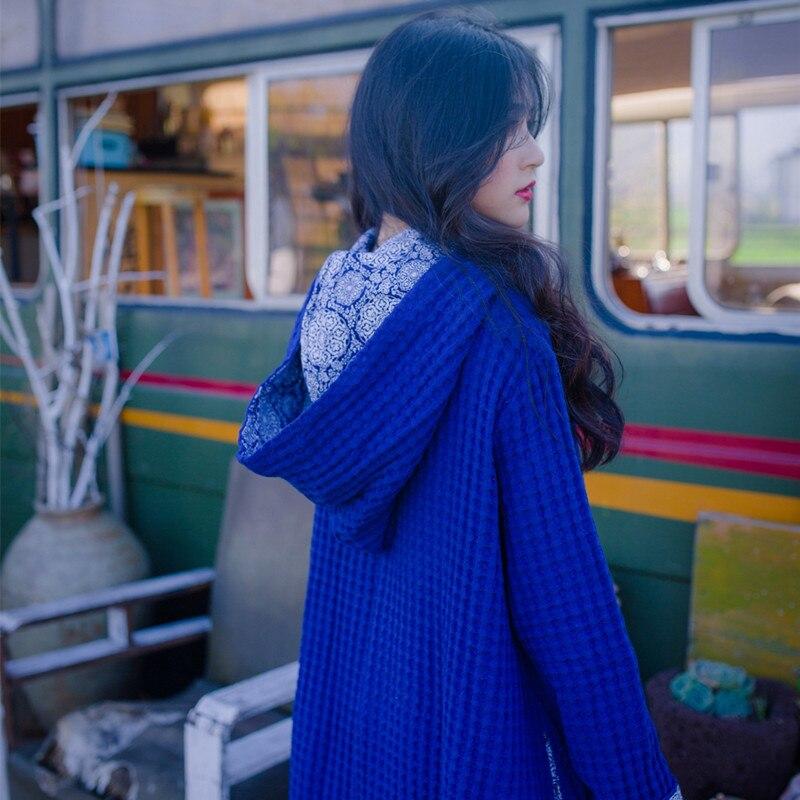 [EWQ] 2019 printemps automne à capuche col à manches longues solide Patchwork tricot pulls en vrac grande taille robe femmes AH06905 - 4