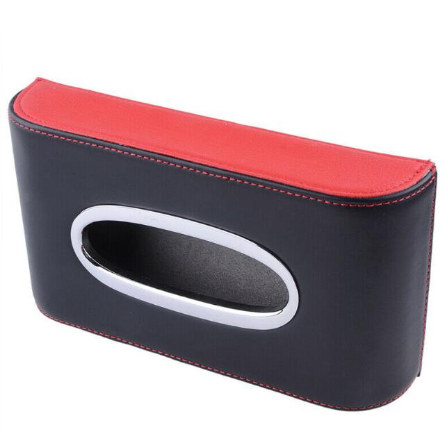 Black/&Red Leather Tissue Box Cover Pumping Paper Car Home Napkin Holder Case