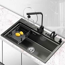YUJIE kitchen multifunctional thickened 304 stainless steel nano black sink set sink wash basin manual single sink ACHY-3002