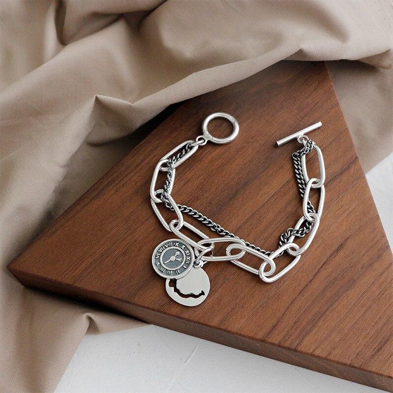 Silvology 925 argent Sterling sourire visage horloge Bracelets Double couche large chaîne Vintage Bracelets pour femme Festival bijoux