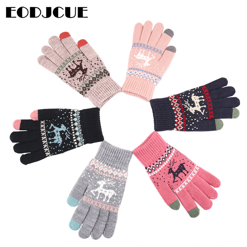 Wholesale Winter Touch Screen Gloves Women Men Warm Stretch Knit Mittens Imitation Wool Full Finger Female Thicken