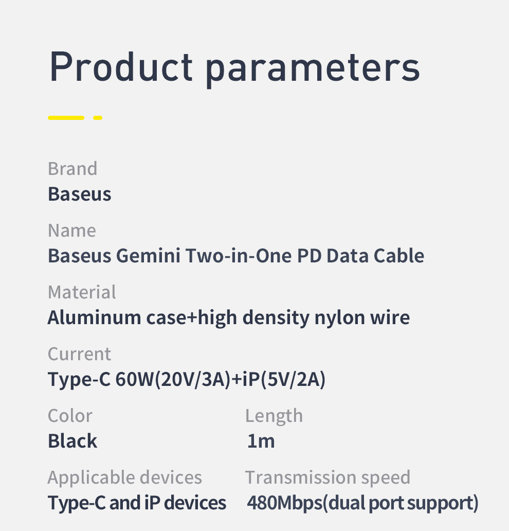 Baseus 60W PD Gemini 2 in 1 PD Data Cable USB Type C to USB Quick Charge PD Cable