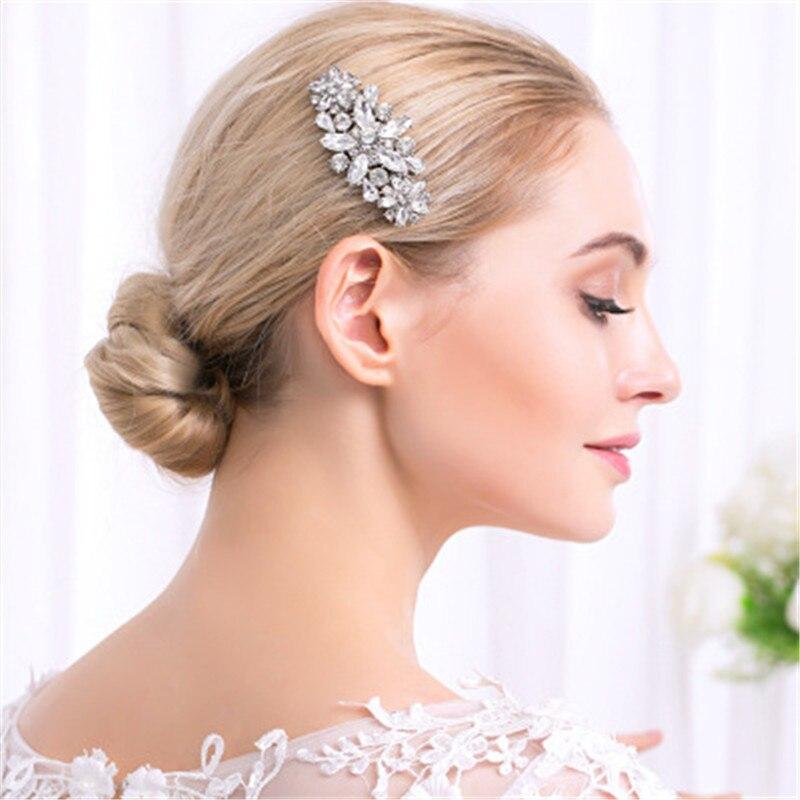 Trendy Silver Bride Crystal Wedding Hair Combs Jewelry Accessories Grace Handmade Rhinestone Bridal Flower Headdress Hair Comb