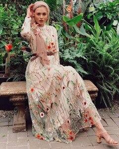 Image 5 - Dubai Sweet Floral Muslim Dress Women Embroidery Flower Big Swing A line Long Dress Lace up Islamic Clothing Maxi Hijab Dresses