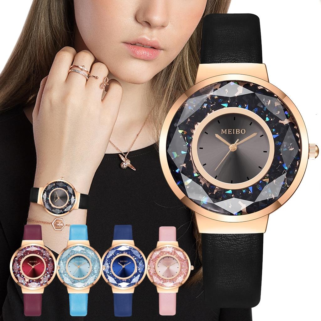 Women Moving Diamond Watch Luxury Ladies Leather Quartz Analog Wristwatches MEIBO Brand Reloj Mujer For Christmas Gift