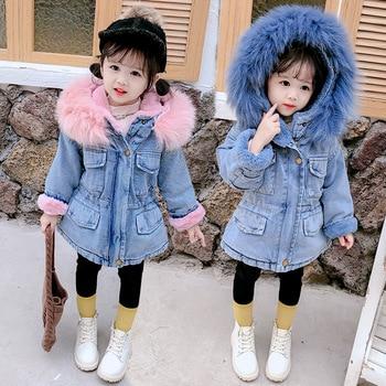 Girl's Eco Fur Hood Denim Coat 3
