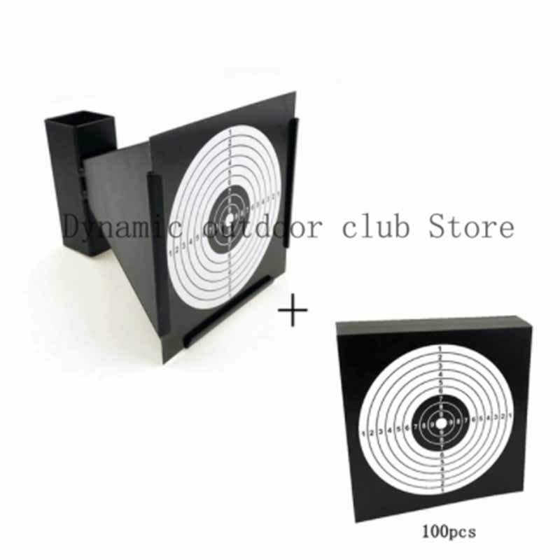 Totrait New High Quality 14cm Funnel Shooting Target Holder Pellet Trap + 100 Paper For Air Rifle/Airsoft Shooting