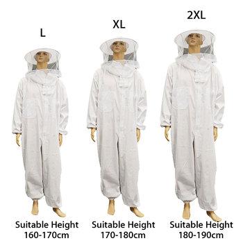 Pszczelarstwo z wyposażeniem ochronnym kurtka welon profesjonalny kombinezon z pełnym rękawem kapelusz Smock narzędzia pszczelarskie zestaw sukienka wszystkie wyposażenie ciała tanie i dobre opinie CN (pochodzenie) 35 Cotton + 65 Polyester