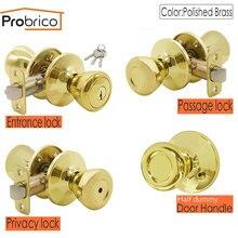 Probrico золотые межкомнатные дверные ручки, поворотный замок, латунные передние задние ручки, защелка для входа/конфиденциальности/прохода, замок hoom, дверная фурнитура