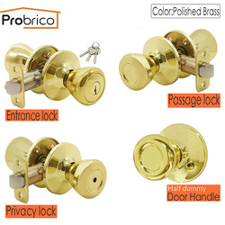 Probrico gałki wewnętrznego drzwiowego lustro złoto mosiądz blokada obrotowa przód tył uchwyt z zatrzaskiem/cylinder blokujący okucia do drzwi domowych w Uchwyty do drzwi od Majsterkowanie na
