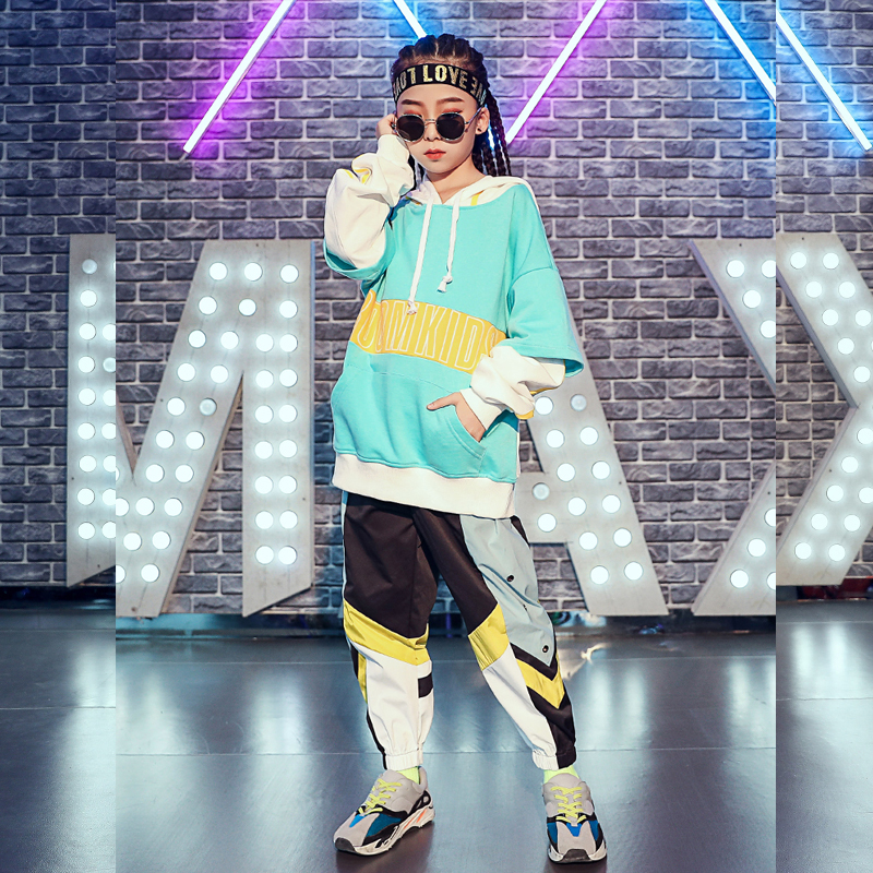 Girls Jazz Dance Costume Kids HipHop Performance Clothing Autumn Winter Street Dance Clothes Children Catwalk Show Wear DQL2355