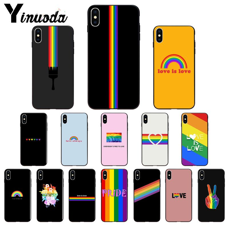 Yinuoda Gay Lesbian LGBT Rainbow Pride Silicone TPU Soft Phone Case for Apple iPhone 8 7 6 6S Plus X XS MAX 5 5S SE XR Cover