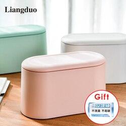 Liangduo desktop bin mini bancada lixo pode resíduos banheiro cozinha mesa de escritório lixo pequena lata de lixo com pop-up