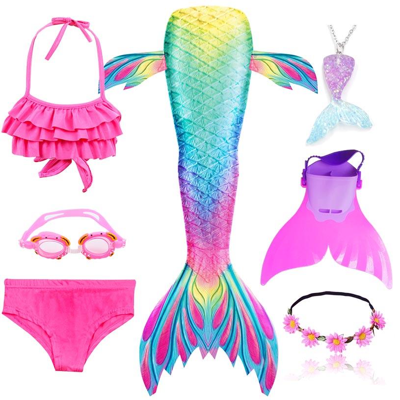 Beautiful Girls Swimming Mermaid Tail Children Little Mermaid Costume Cosplay Swimsuit Bikini Set For Kids Can Add Monofin
