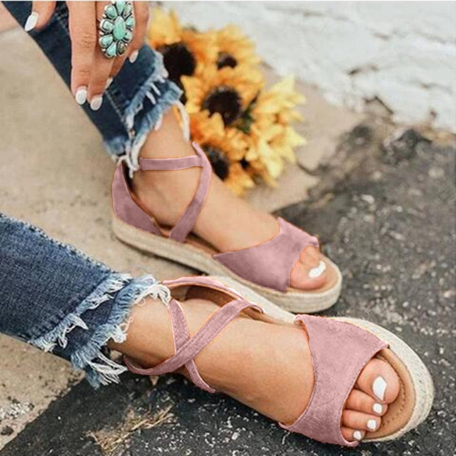 Flat ankle strap summer sandals for women 6