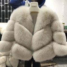 2020 nowych moda prawdziwe futro lisa kobiet naturalne prawdziwe futro kurtki płaszcze kobiet 3 wiersze krótka odzież wierzchnia dziewczyny