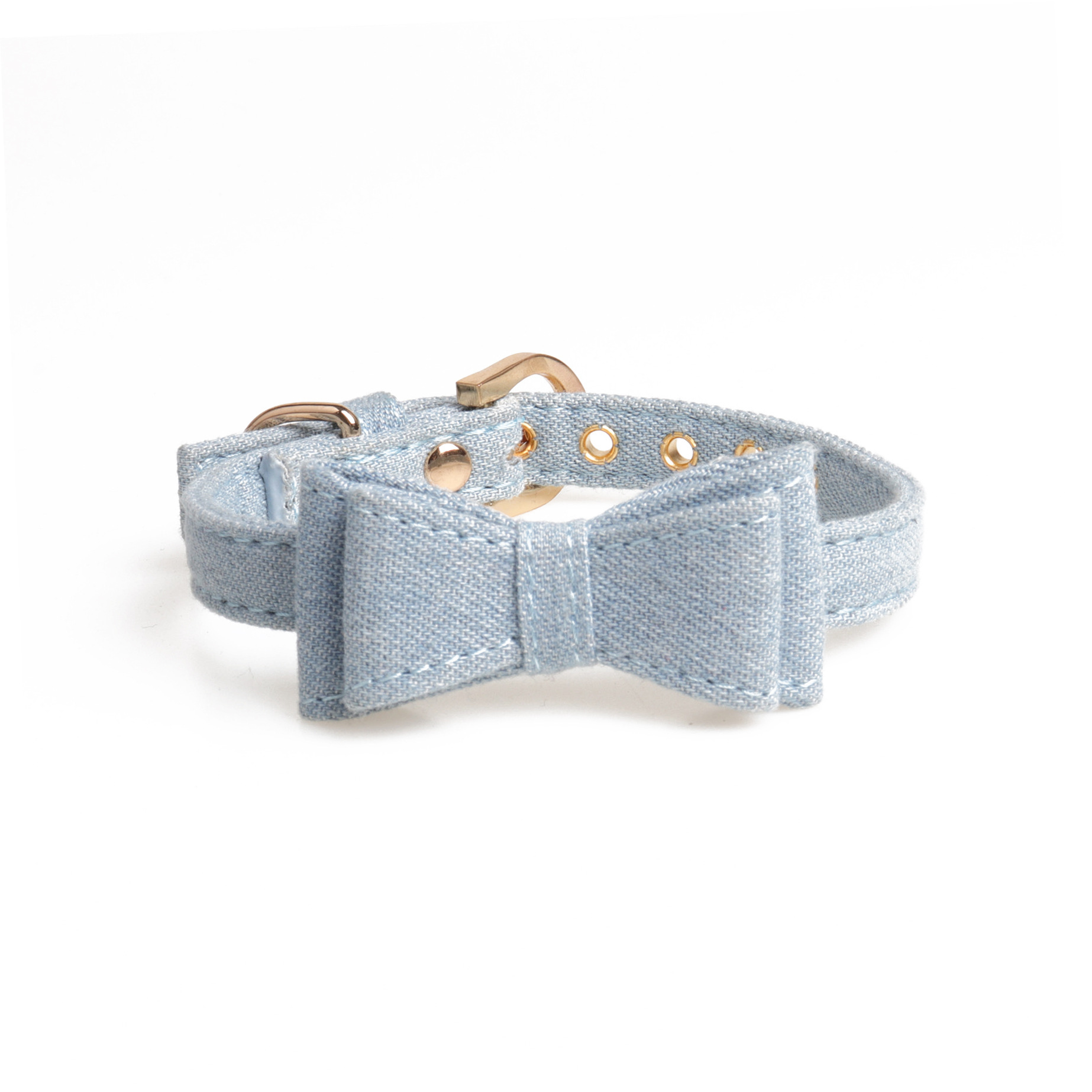 Amin Georgia Blue Color Cowboy Bow Neck Ring Pet Collar Small And Medium Dog Neck Ring