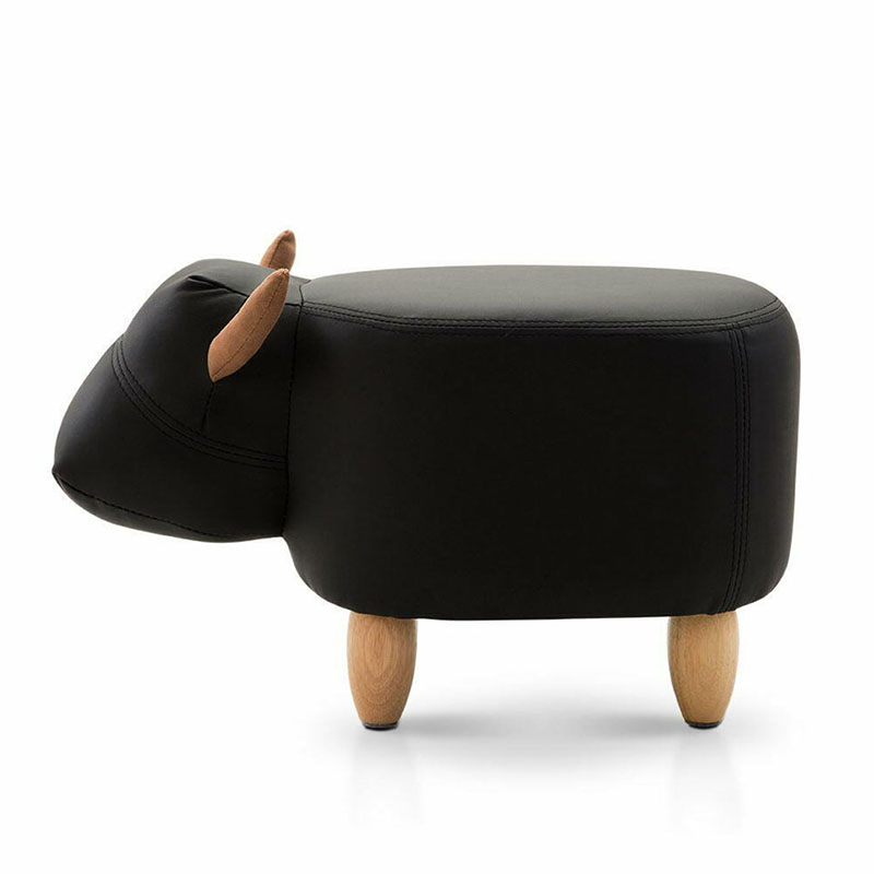 Cow Stool Animal Model Cushion Sofa Ottoman Shoe Child Seat Pouf Kids Chair Toys StorageFootstool Solid Wood Home Deco Furniture
