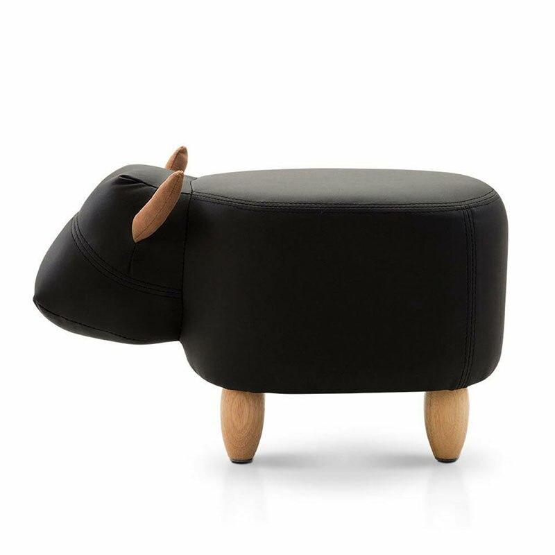 Sapi Tinja Hewan Model Bantal Sofa Ottoman Sepatu Kursi Anak Pouf Kursi Anak Mainan Storagefootstool Kayu Solid Home Deco Furniture