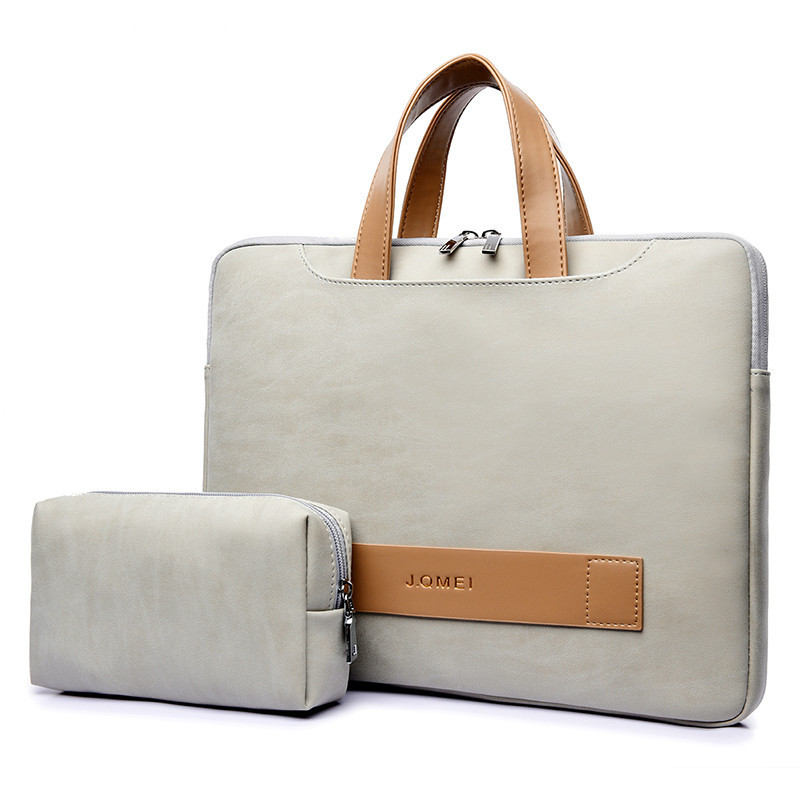 Portable Light Soft Leather Laptop Bag Women 15.6 Inch Women's Briefcase Laptop Handbag Woman Totes Notebook Bag Business