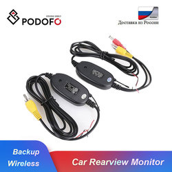 Podofo 2.4 Ghz Wireless Rear View Camera RCA Video Transmitter & Receiver Kit for Car Rearview Monitor Reverse Backup Camera Cam