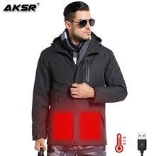 AKSR Men Women Winter Heated Jacket USB Heating Jackets Rain Waterproof Windbreaker Fishing Suits Hiking camping Coat