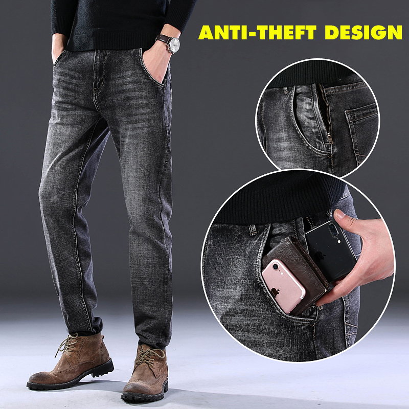 2020 New Mens Brand Jeans Fashion Men Casual Straight High Stretch Feet Jeans Anti-theft Design Men Black Hot Sell Male Trousers