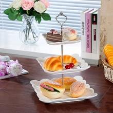 2/3 уровневая пластиковая тарелка для торта, подставка для послеобеденного чая, свадебные тарелки, вечерние столовые приборы для торта, две/три слоя, подставка для торта, не тарелки