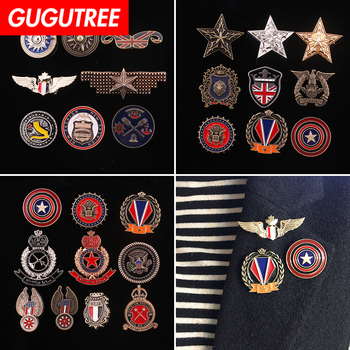 GUGUTREE broche de mano ejército rango estrella alas de águila sol parche remiendos del metal insignias apliques, parches para ropa HH-50