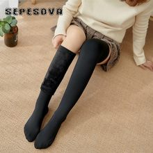 Elegante Longo Preto Sólido de Alta Meias Meias até o joelho Mulheres Cotton elastic Sock Sox Do Casamento Do Natal Do Inverno Quente Mais Grossa de veludo para senhora