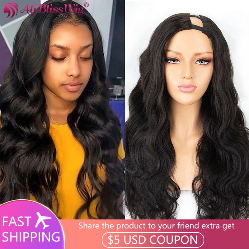 Left Part U Part Wigs For Women Human Hair Wigs Body Wave Wig 6 Inch Deep Part Space Wig Brazilian Remy 250% Density Aliblisswig