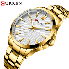 CURREN Gold Mens Watches Waterproof Stainless Steel Quartz Wristwatch Business Clock Relogio Montre Sport Homme