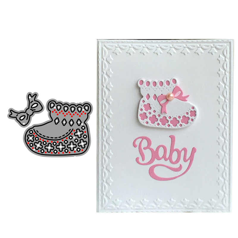 2019 New Arrival Baby Bootie and Bow Metal Cutting Dies Embossing Scrapbooking Stencil Craft Cut Dies For DIY Card Handmade