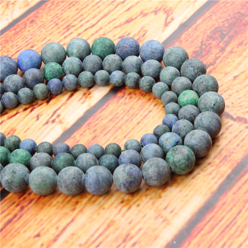 Frosted Phoenix Green Natural Stone Bead Round Loose Spaced Beads 15 Inch Strand 4/6/8/10/12mm For Jewelry Making DIY Bracelet