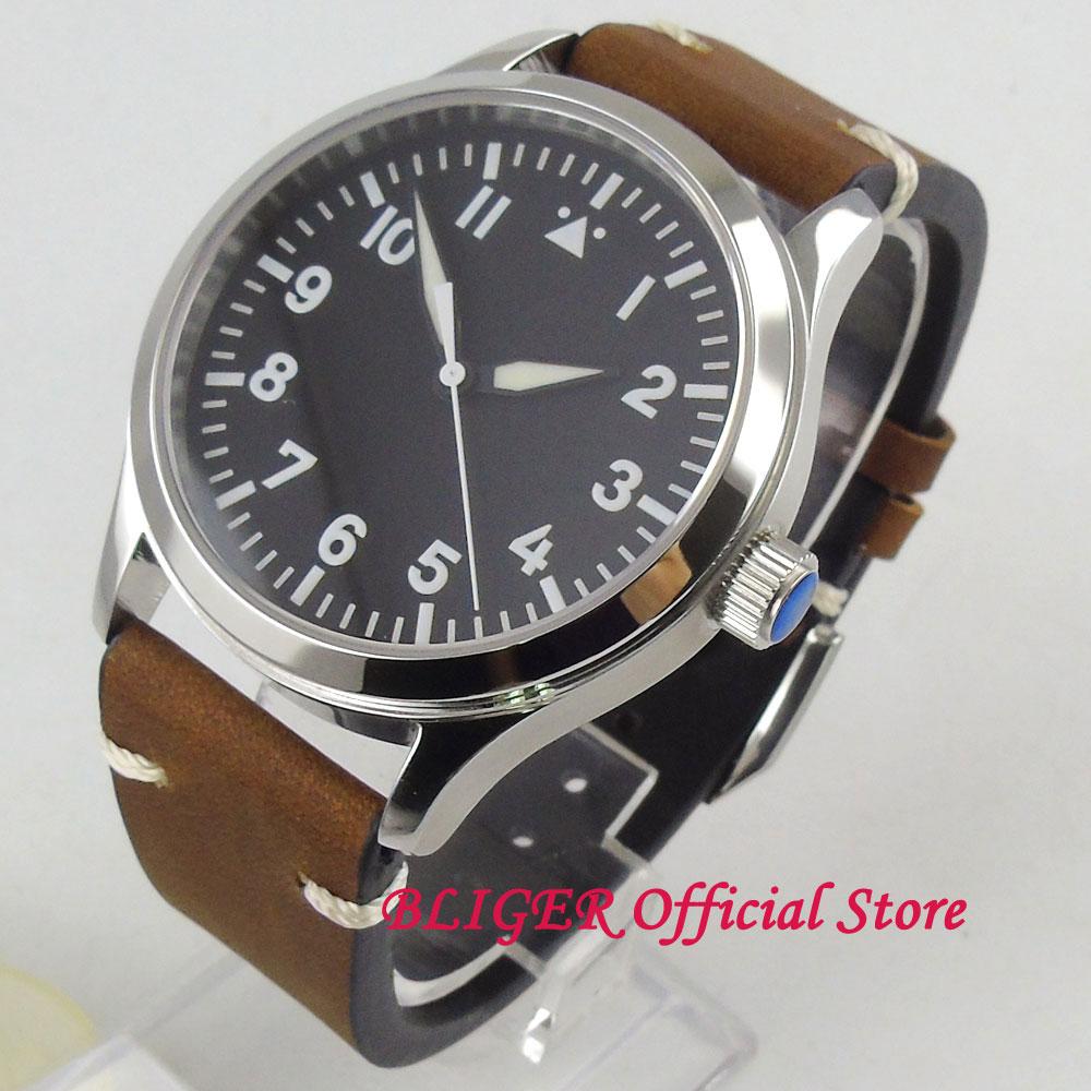 Klasyczne 42mm Sapphire szkło biała sterylne Dial cyframi rzymskimi niebieski ręcznie ST automatyczny ruch zegarek męski mężczyzna zegarek na rękę w Zegarki mechaniczne od Zegarki na  Grupa 1