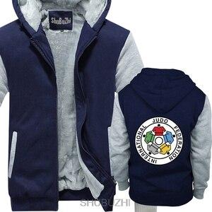Image 2 - Nuovo IJF International Judo Federation Logo degli uomini di inverno con cappuccio di spessore con cappuccio inverno Straight jacket sbz4597