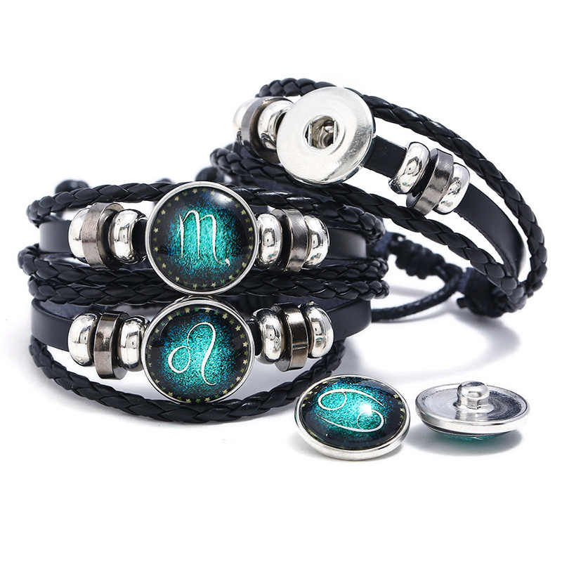 2019 New Punk Luminous Bracelet Bangle 12 Constellation Leather Bracelet Personality Woven Star Glowing Jewelry for Women Men
