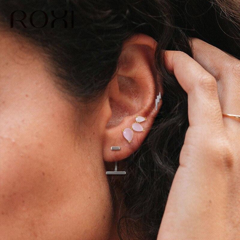 ROXI 925 Sterling Silver Ladies Stud  Earrings Sweet Pink Blue Crystal Zircon Earring Elegant Women Fashion Jewlry Birthday Gift